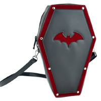 Red Bat Coffin Bag Gothic Purse Backpack w/ Velvet Trim
