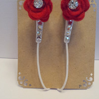 Red Felt Rose Earbuds with Swarovski Crystals