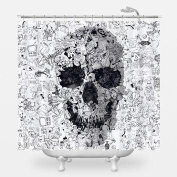 Doodle Skull Shower Curtain
