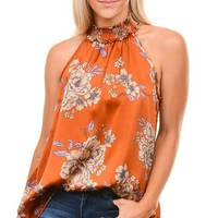 Rust Floral Smocked Sleeveless Top