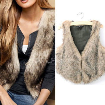 Brand Winter Spring Women Vest Coats Vintage Faux Fur Vests For femme Elegant Casual Coats fashion female outerwear Clothing