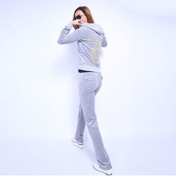 Juicy Couture Fw2017 Velour Tracksuit 2pcs Studded Juicy Logo Crown Women Suits Grey