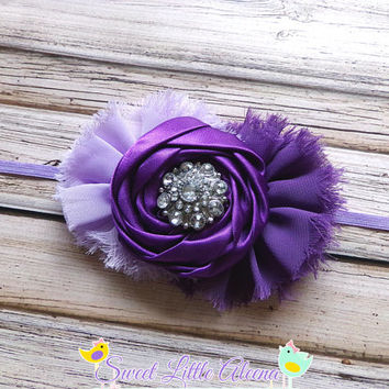 Purple Flower Girl Headband - Fancy Satin Hairband - Big Baby Headband - Toddler Hair Bows - Lavender Headband - Newborn Bow - Hair Clip