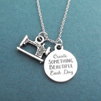 Create SOMTHING BEAUTIFUL Each Day, Sewing machine, Silver, Necklace, Birthday, Best friends, Gift, Jewelry