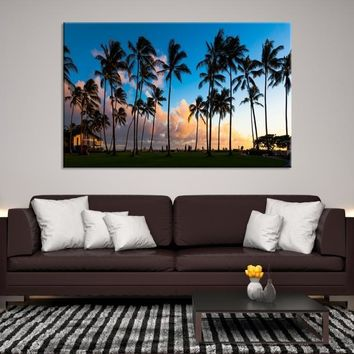 50168 - Palm Trees on the Beautiful Landscape Background  Wall Art Canvas Print
