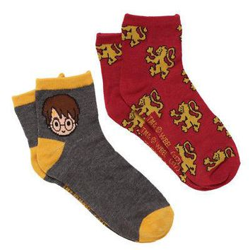 Harry Potter Chibi Harry Gryffindor Crest Ankle Socks - 2 Pair