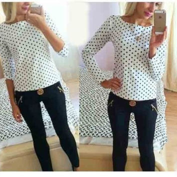 Chiffon Women Sports Hoodies Long Sleeve Round Necked Polka Dot Shirt Blouse _ 1710