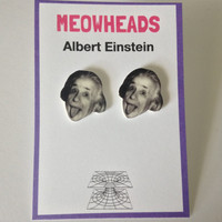 Albert Einstein Earrings by MEOWHEADS on Etsy