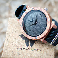 CityWolf wood watch - Black Ghost