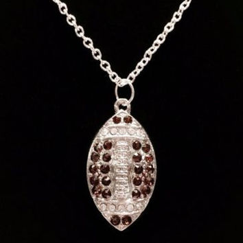 Crystal Football Gift For Football Mom Charm Necklace