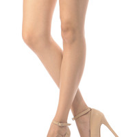 Beige Faux Leather Ankle Strap Platform Pumps