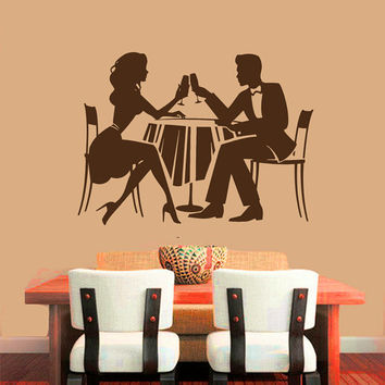 Wall Decals Interior Home Decor Art Cocktail Glass Meals Couple Food Wine Relax Vinyl Decal Sticker Kitchen Cafe Restaurant Gift ML38