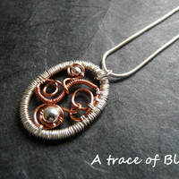 Copper and Sterling silver necklace, handmade free form wire wrapped necklace