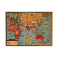 World Map Leather Sea Living Room Wall Sticker [8605202951]