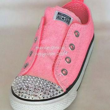 DCCK1IN converse all star chuck taylors in vintage neon pink with swarovski crystal detail