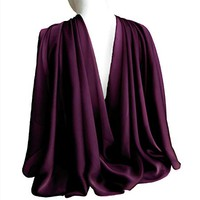 "Plum Purple Eggplant Wide Long Shiny Scarf for Women Evening Wrap With Gift Box Formal Wedding Shawl Lightweight Cocktail Chiffon Stoles 77"" x 27"""