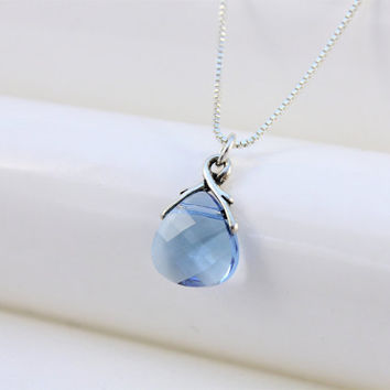 Christmas gifts for her Blue necklace, Swarovski crystal aquamarine teardrop briolette pendant, sterling silver chain, March birthstone