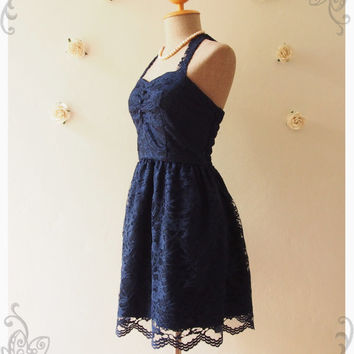 Midnight Blue Lace Dress Navy Lace Dress Vintage Inspired Romantic Dress Lace Cocktail Dress Prom Dress Party Dress - Size XS-XL