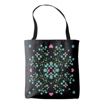 Forget-Me-Nots and Pink Hearts Mandala Tote Bag