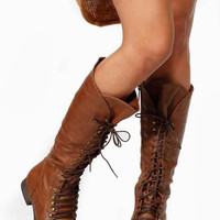 Taupe Faux Leather Calf Length Lace Up Boots