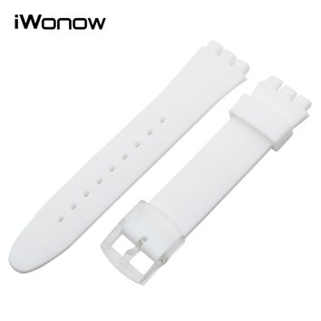 17mm 19mm 20mm Silicone Rubber Watchband +Tool for Swatch Men Women Watch Band Wrist Strap Replacement Belt Bracelet Black White