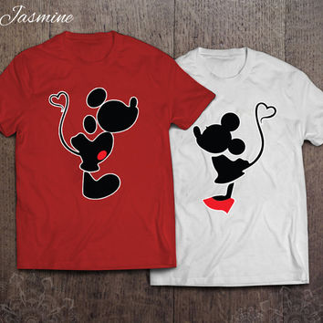 Mickey and Minnie Kissing - best couples shirts - unisex t-shirt - gift for her and for him - couples apparels