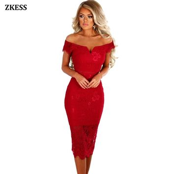 Zkess Women Sexy Bodycon Sheer Lace Bardot Midi Dress Off Shoulder Neckline Stretchy Fitted Party Night Club Dresses LC61975