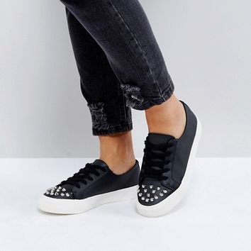 ASOS DANGEROUS Wide Fit Studded Lace Up Trainers at asos.com