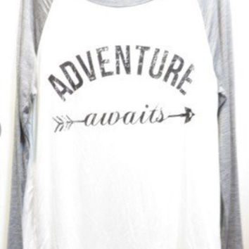 ADVENTURE AWAITS Baseball Sleeve Tee
