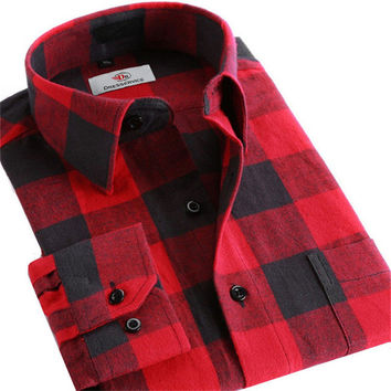 Men Plaid Long-sleeved Casual Shirts Flannel Slim Fit Spring