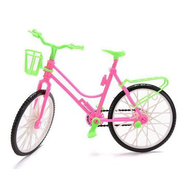 ICIK272 Green Plastic Detachable Bike Toy Bicycle With Basket For Barbie Doll Great Children Gift