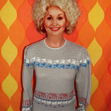 vintage 80's sweater sweet village scene puff sleeve by skippyhaha