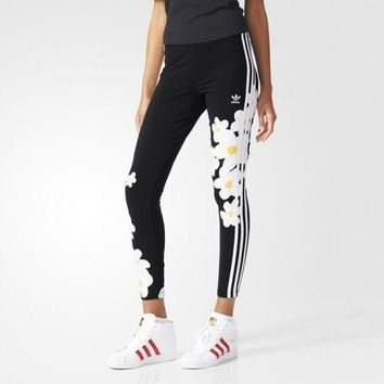 DCCKBA7 Fashion Adidas Flowers Print Tight stretch Exercise Fitness Gym Yoga Running Leggings Sweatpants