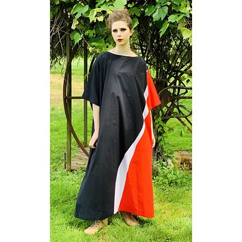 Vintage Marimekko Maxi Gown Red Black Cotton 1976 Sz M Striking