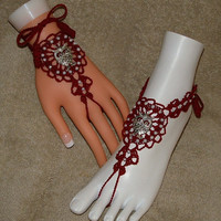 Barefoot Sandals / Slave Bracelet Rings with Owl Charms