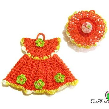 Orange crochet dress potholder and little hat - Presina vestitino e cappellino arancione all'uncinetto