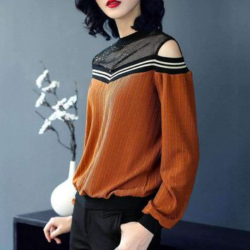 Arrival Women'S Fashion Loose O Neck Long Sleeve Off Shoulder T Shirt Tops Ladies Hole Hollow Out Tees