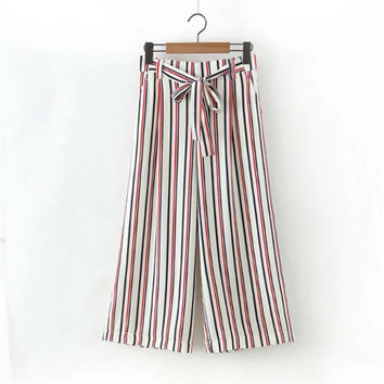 Summer High Rise Stripes Pants Waistband Women's Fashion Cropped Pants [4920284612]