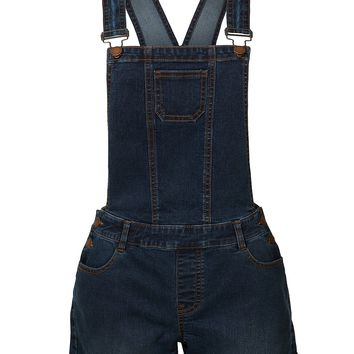 LE3NO Womens Classic Blue Denim Overall Short with Rolled Cuff