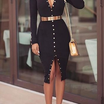 Black Studded V-neck Long Sleeve Fashion Midi Dress