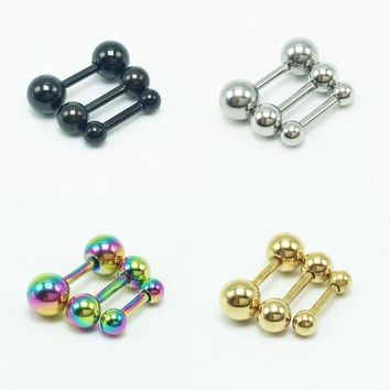 2 pieces fashion men stud earrings stainless steel barbell ear studs for women pendientes silver gold black rainbow 3mm 4mm 5mm
