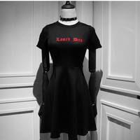2018 Summer New Arrival Casual Women Harajuku Punk Lolita Gothic Vintage Embroidery Letters Red Striped Short Sleeve Black Dress