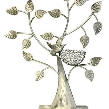 Bejeweled Display®Bird Nest Jewelry Tree Earring Holder~Bracelet Stand~Necklace Organizer Jewelry Display (Antique Silver)