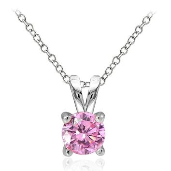 925 Sterling Silver 1ct Light Pink Cubic Zirconia 6.5mm Round Solitaire Necklace