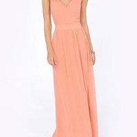Light Pink V-Neck Backless Chiffon Maxi Dress