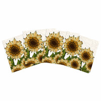 "Art Love Passion ""Sunflower Field"" Beige Yellow Indoor/Outdoor Place Mat (Set of 4)"