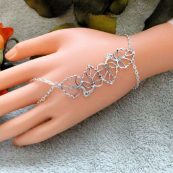 Slave Bracelet, Jewelry,Hand Chain, Leaf,Leaves,,Nature,Hand Harness,Infinity Ring,Ring Bracelet,Hand Jewelry,Sexy