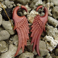 Organic Hand Carved Fake Gauges Blood  Wood Earrings Natural  wing
