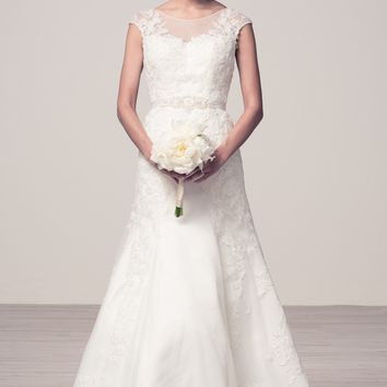 Romantic cap sleeve lace wedding dress #wjw2054
