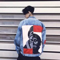 New Clown Jeans Jacket Men Women Washed Holes Red Armbands Stitching Portraits Jacket Casual Streetwear Vintage Men's Jean Jacket Clothing